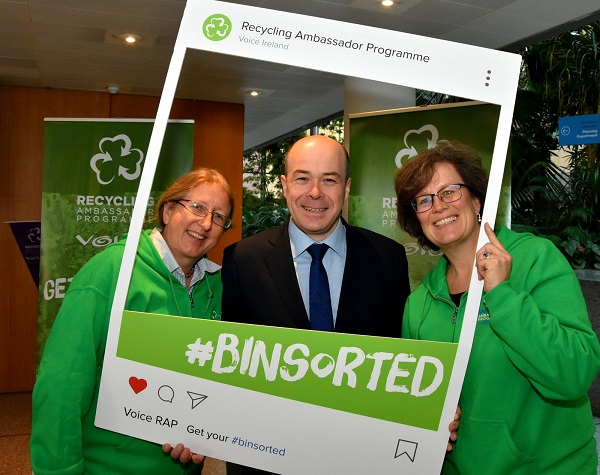 At the launch of the new Recycling Ambassador Programme in Dublin on Wednesday, were Suzie Cahn, Project Co-Ordinator for Recycling Ambassador Programme, Minister for Communications, Climate Action and Environment Denis Naughten & Mindy O'Brien, Co-ordinator at VOICE.