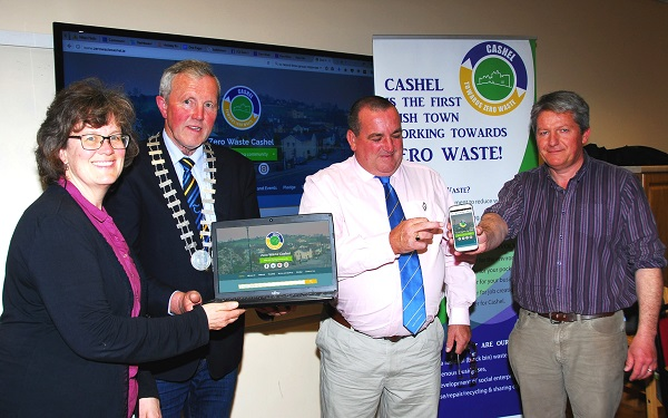 Pictured at the launch of www.zerowastecashel.ie are Mindy O Brien, Coordinator VOICE, Cllr. Roger Kennedy, Cathaoirleach- Cashel/Tipperary Municipal District, Cllr. Martin Browne and Derry O Donnell, Project Manager. Photo: Sean Laffey