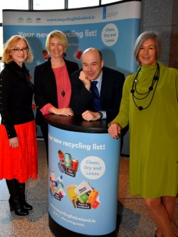 At the launch of the new Recycling Ambassador Programme in Dublin today (Wednesday) were Joanne Rourke, Prevention Officer with Eastern Midlands Waste Management Office, Sinead Ni Mhainin Prevention Officer with Connacht-Ulster Waste Management Office, Minister for Communications, Climate Action and Environment Denis Naughten and Pauline McDonagh Prevention Officer with Southern Region Waste Management Office.