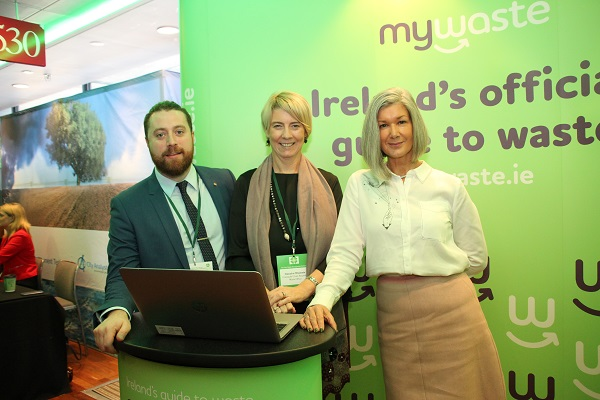 Launching mywaste.ie at the Irish Waste Management Conference in Cork Park today (Thursday November 29, 2018) were Declan Breen Waste Prevention Officer with the Eastern Midlands Region Waste Management Office; Sinéad Ní Mhainnín Waste Prevention Officer with the Connacht Ulster Region Waste Management Office and Pauline McDonogh Waste Prevention Officer with the Southern Region Waste Management Office and Co-Ordinator of my waste.ie. Photo credit: Now Media.